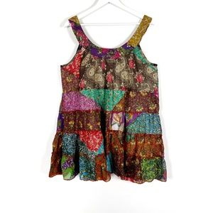 Ark Imports Boho Floral Patchwork Dress Tunic L/XL
